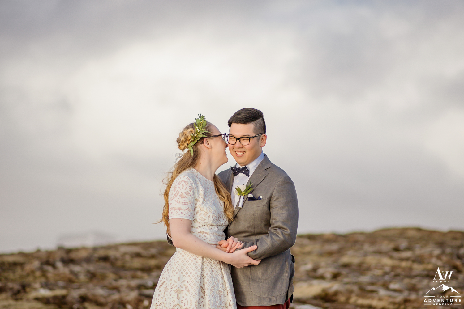 Iceland Bride whispering to her groom
