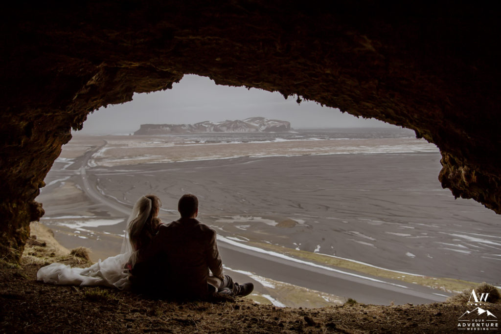 Couple inside of a Secret Cave in Iceland