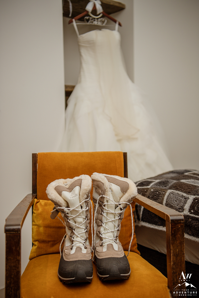 Iceland Winter Wedding Boots at Hrifunes Guesthouse