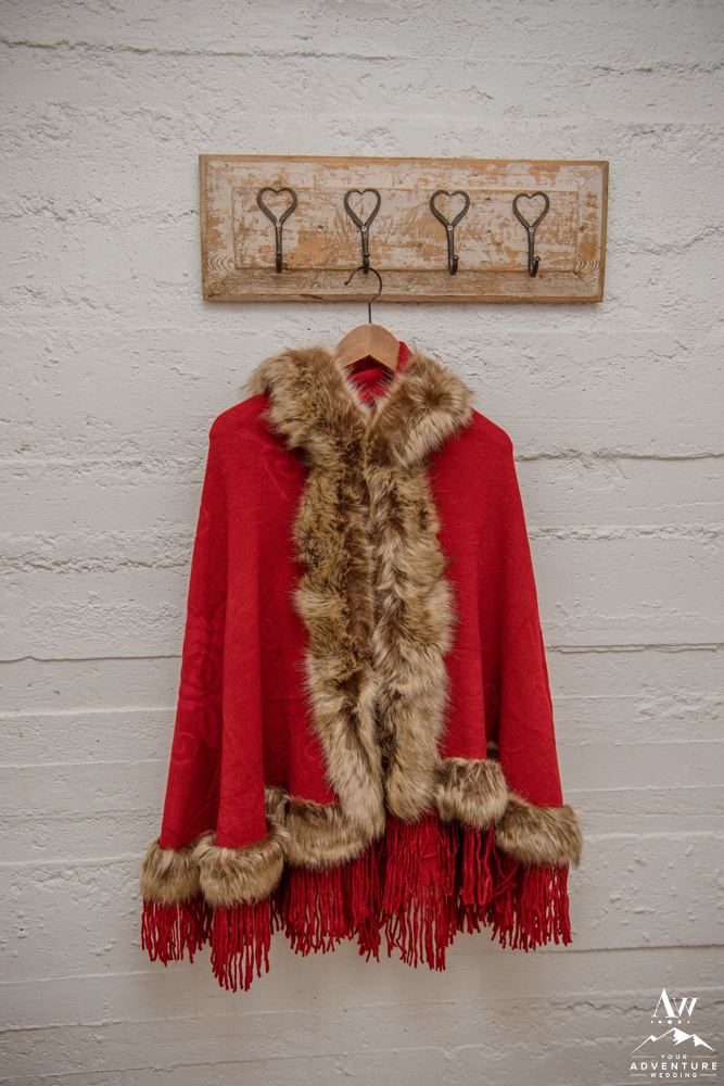 Red Winter Coat for Iceland Elopement