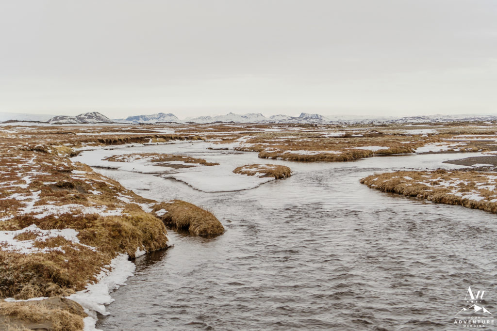 Winter River during Iceland Elopement