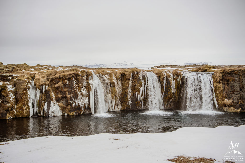 Private Waterfall during Iceland Elopement