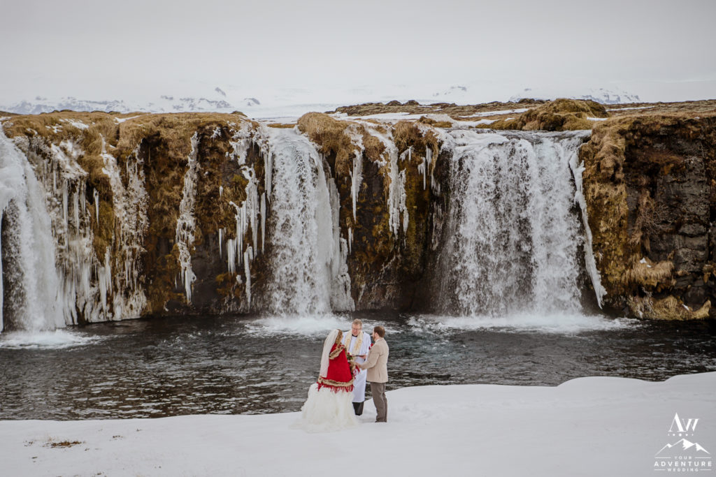March Elopement in Iceland at Private Waterfall