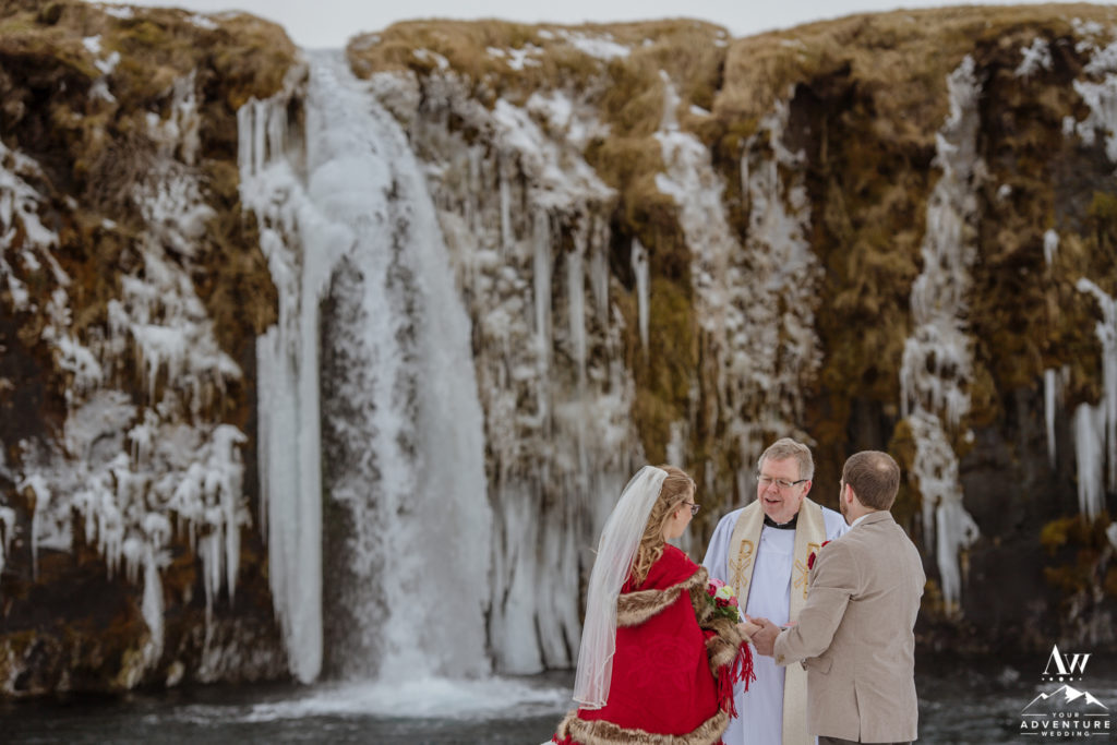 Winter Elopement in March at a waterfall
