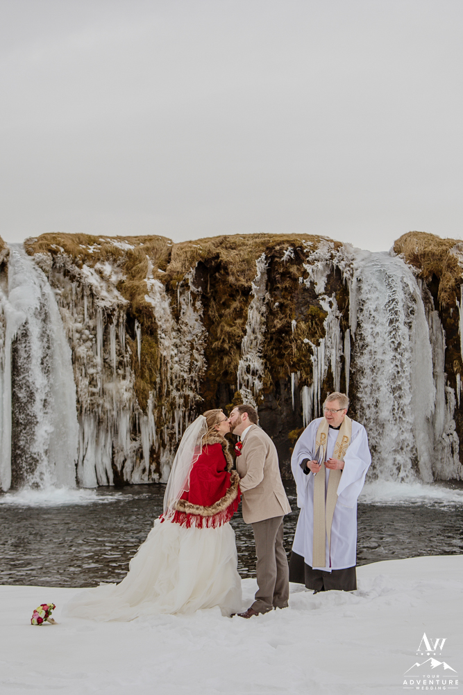Couple kissing after Iceland Wedding Ceremony