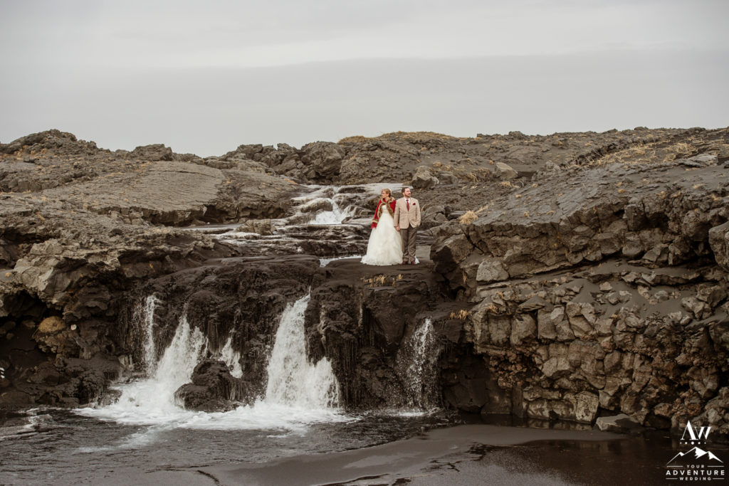 Epic Iceland Wedding Photos at a waterfall