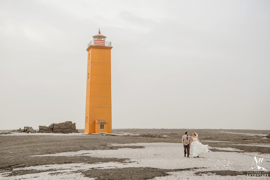 Iceland Wedding Couple during March Lighthouse Elopement