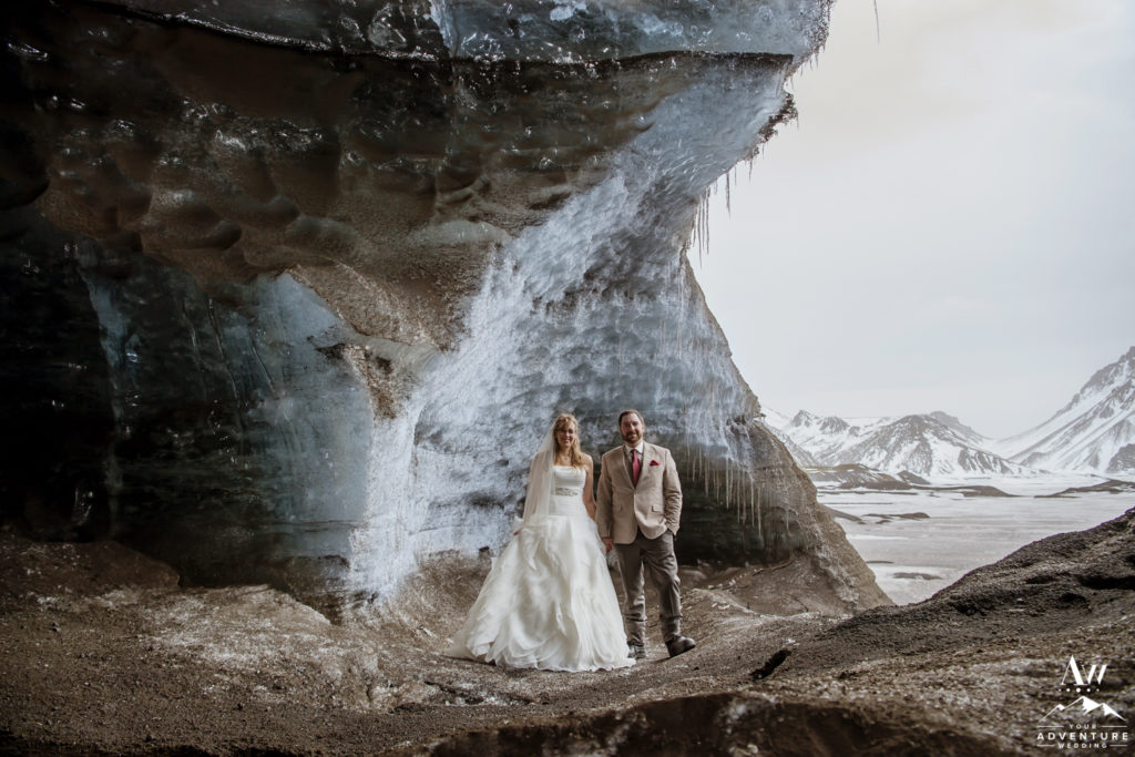 Eloping in Southern Iceland Couple inside of an Ice Cave