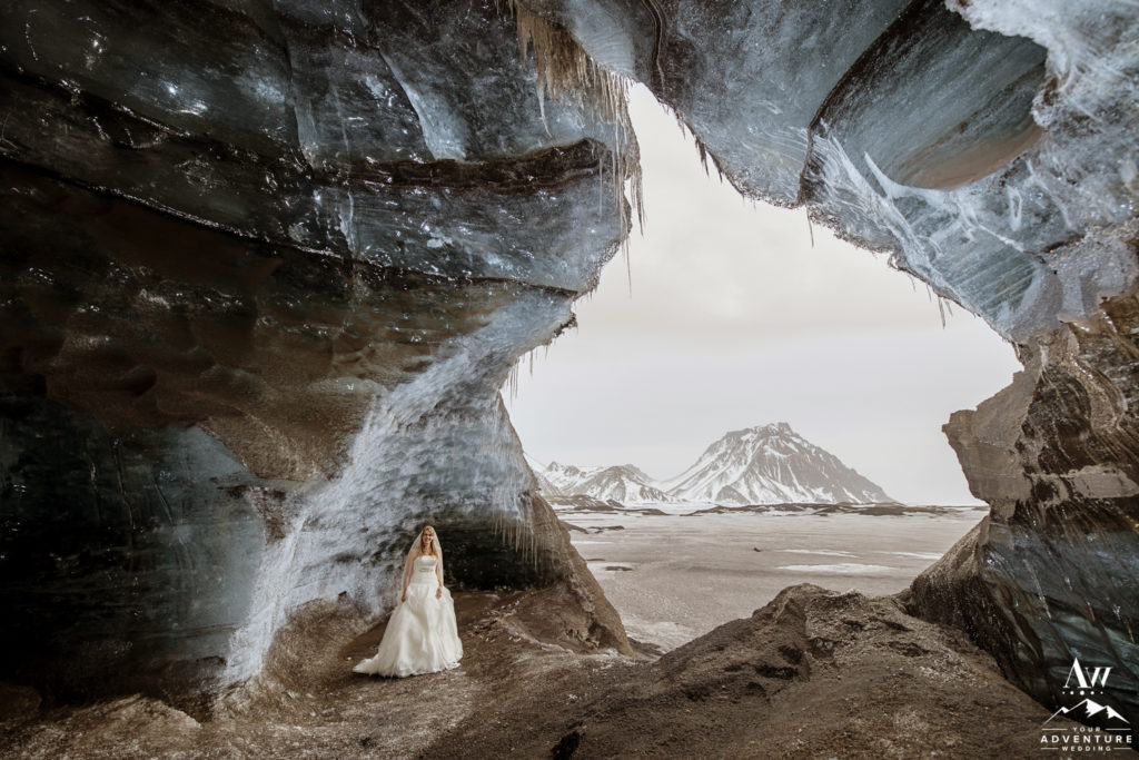 Adventurous Bride inside an Ice Cave in Iceland