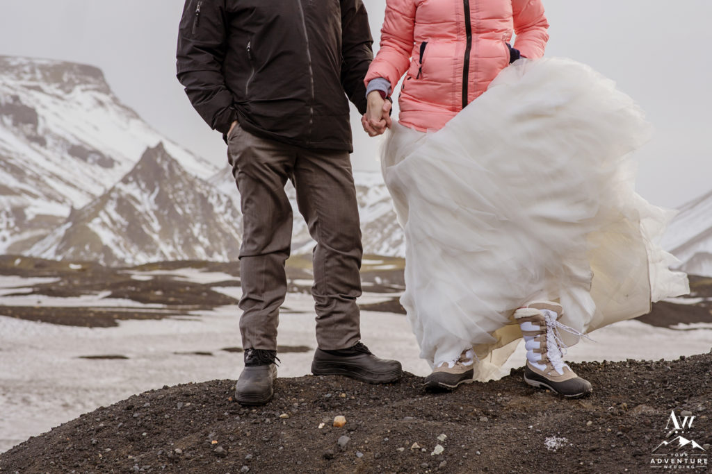 Hiking Adventure Wedding Shoes in Iceland