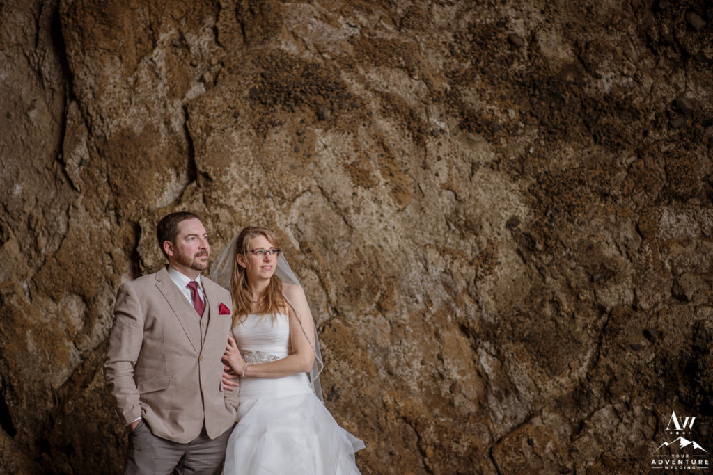 Iceland Wedding Couple Exploring natural cave