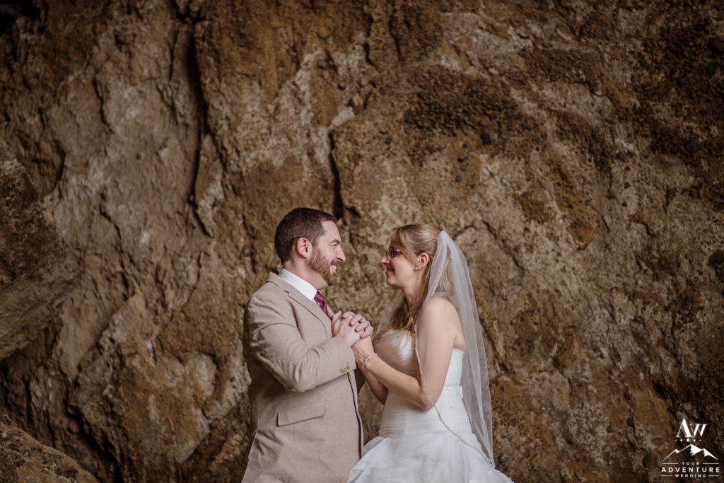 Iceland Elopement Photos inside private cave