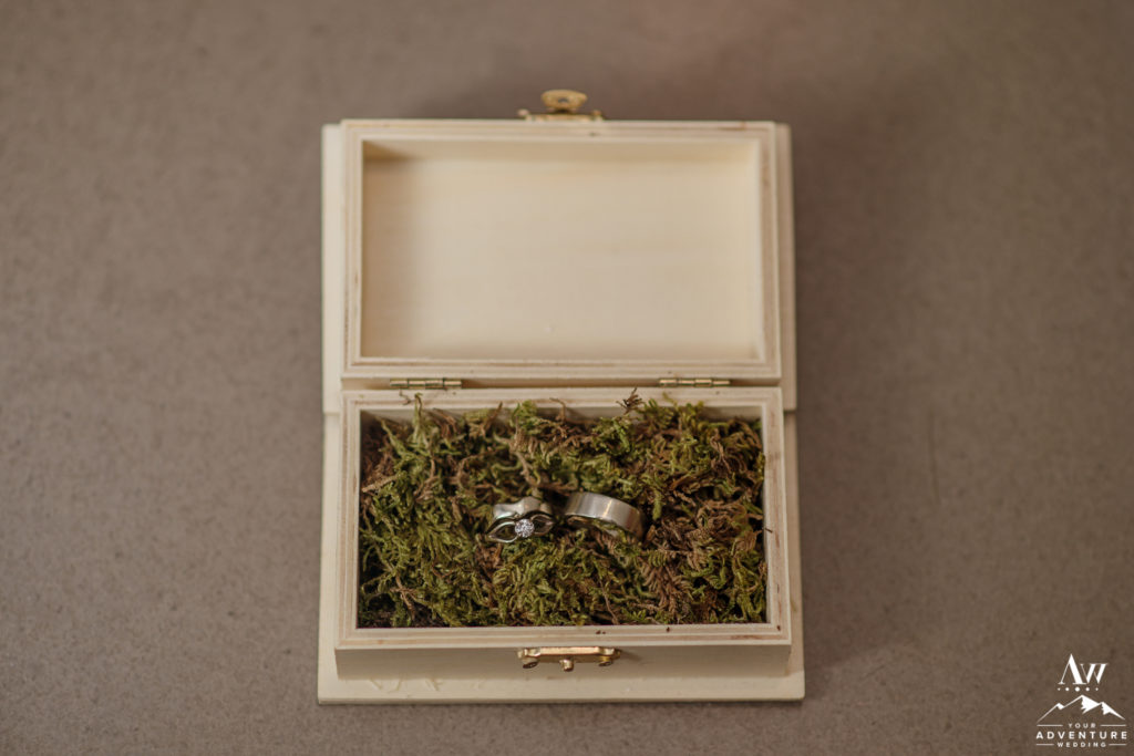 Iceland Wedding Rings in Wooden Box Surrounded by Moss
