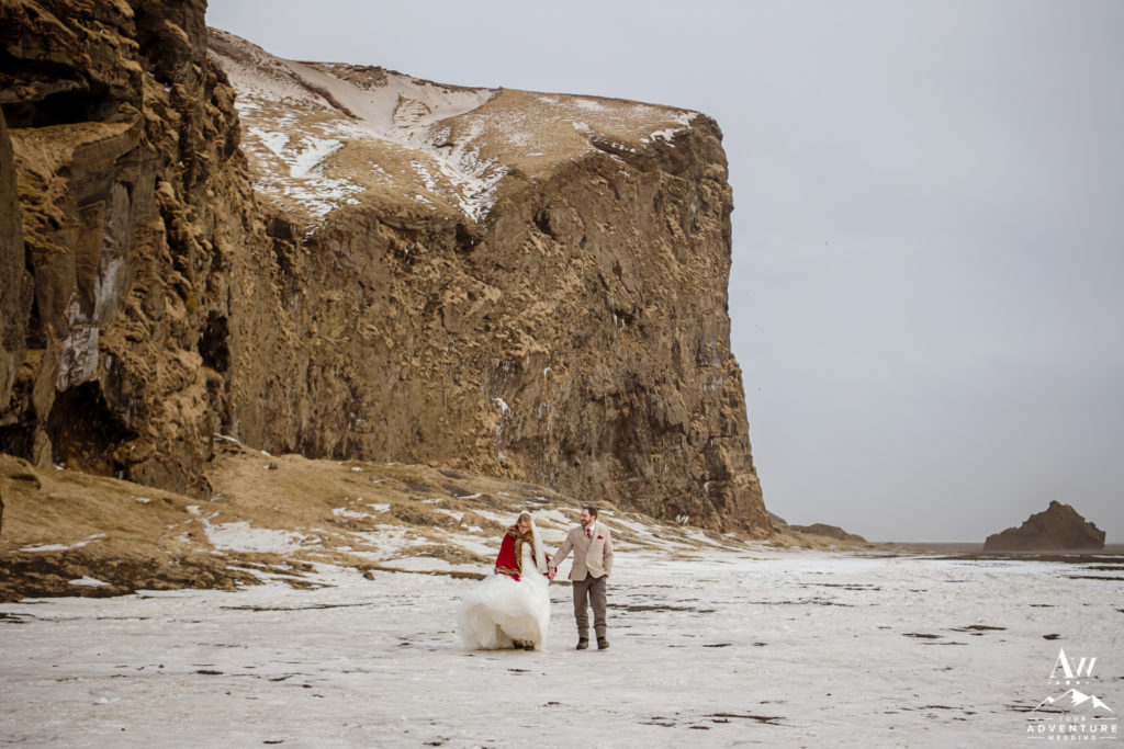 Couple exploring during March wedding in Iceland