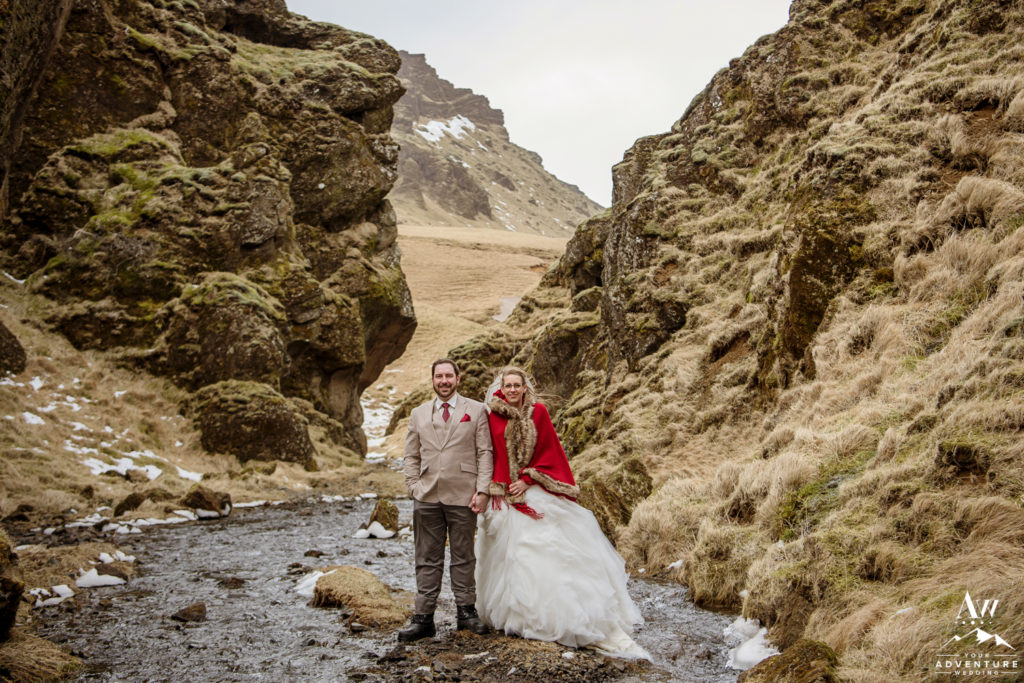 March Elopement in Iceland Couple in private canyon