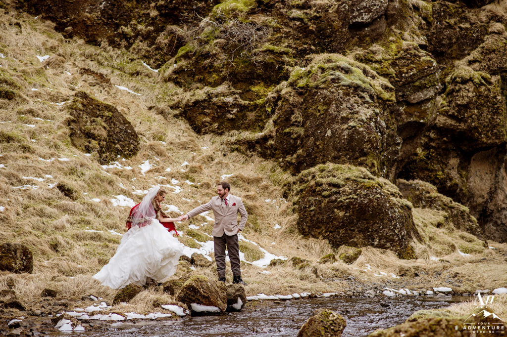 Couple Eloping in Iceland Canyon Adventure