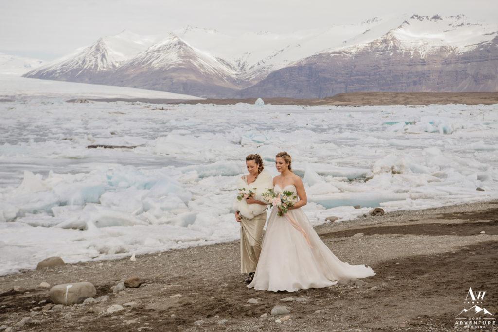 Bride Walking down Aisle during Iceland Wedding at Glacier Lagoon