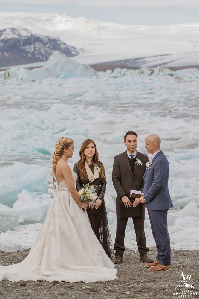 Iceland wedding at glacier lagoon with two celebrants