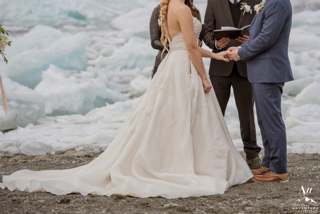 Exchange of rings during Iceland wedding ceremony