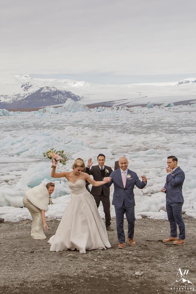 Couple celebrates after Iceland wedding ceremony