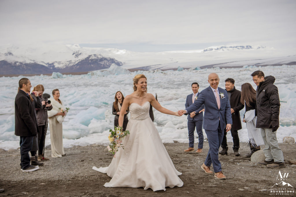 Couple walks down the aisle after Iceland wedding ceremony