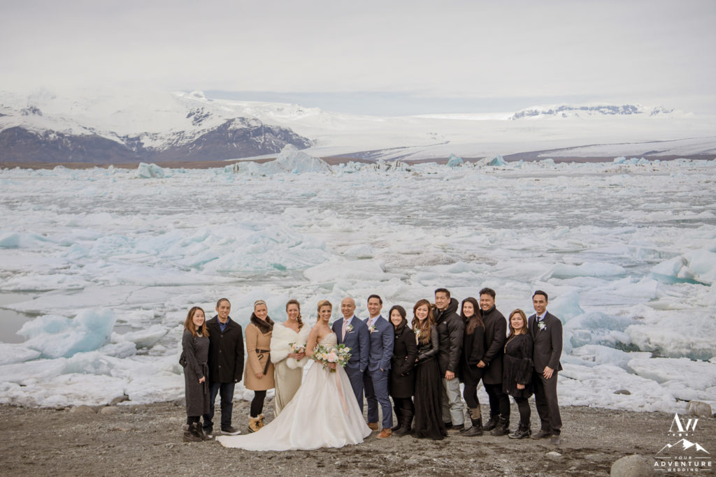 Iceland Wedding Group Photo at the Glacier Lagoon