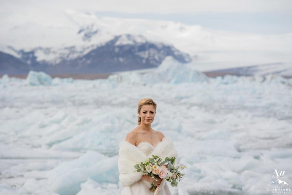 Closeup of bride on Iceland wedding day at glacier lagoon