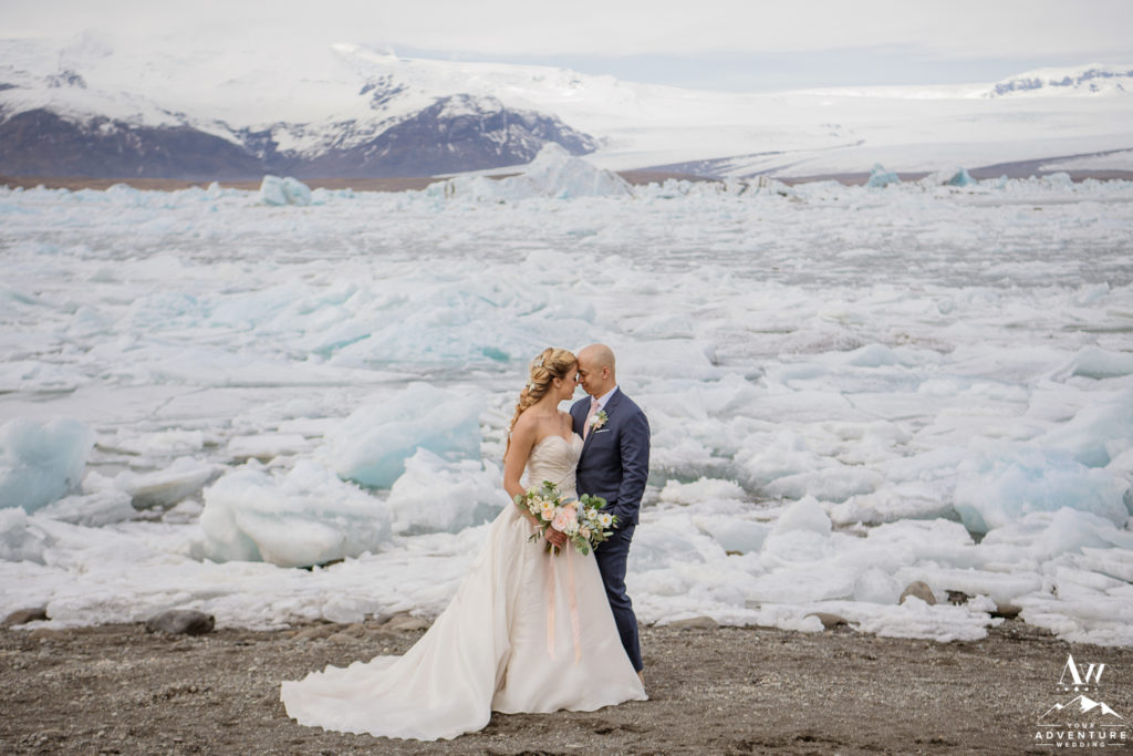 Intimate Moment between a couple during Iceland wedding day