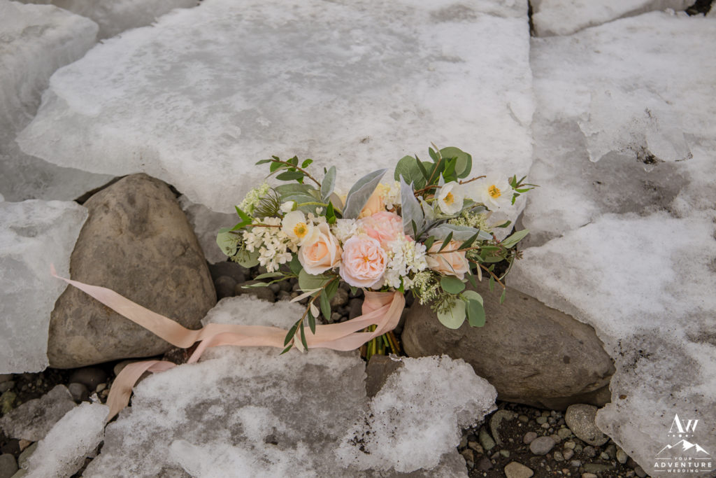 Iceland Wedding Bouquet at Jökulsárlón Glacier Lagoon
