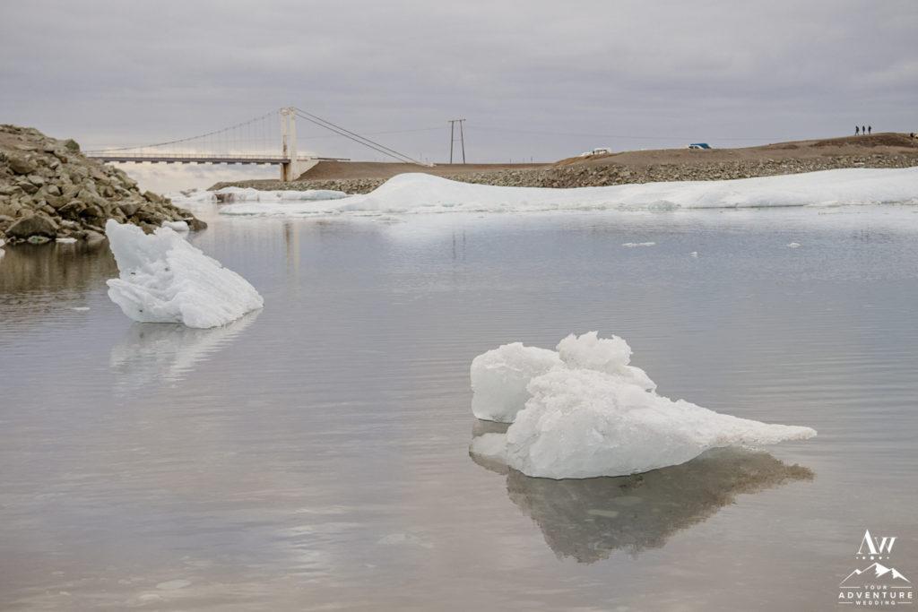 Iceland wedding location glacier lagoon bridge and iceberg