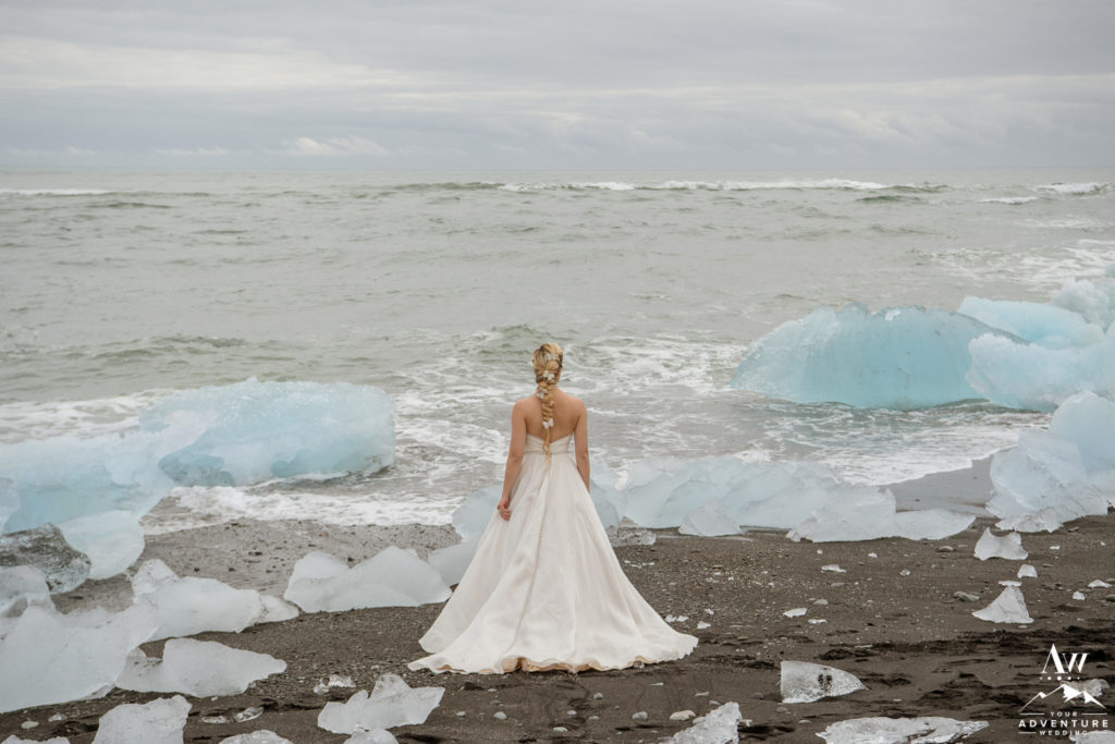 Iceland Wedding Bride Looking out to the Ocean