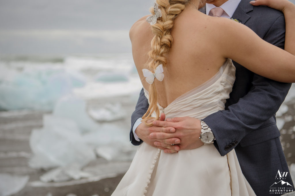 The black of Iceland brides dress at diamond beach