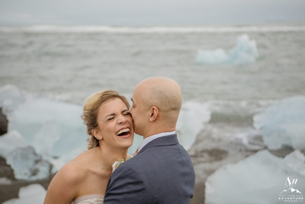 Groom makes bride laugh on Iceland wedding day