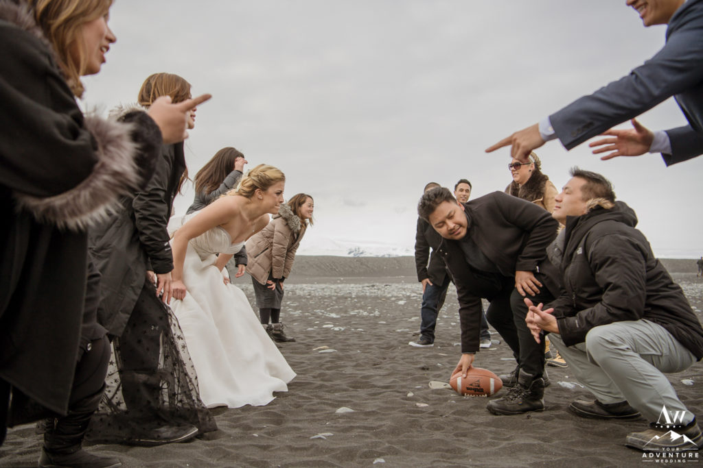 Iceland wedding group playing football