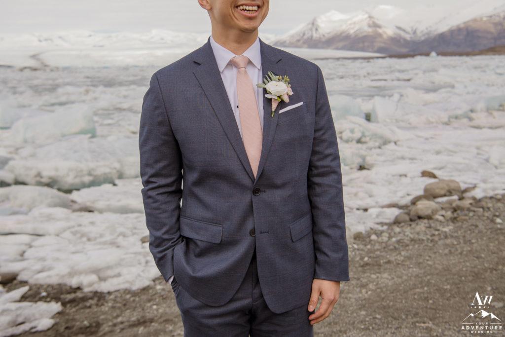 Grooms Suit Details at Jökulsárlón Glacier Lagoon