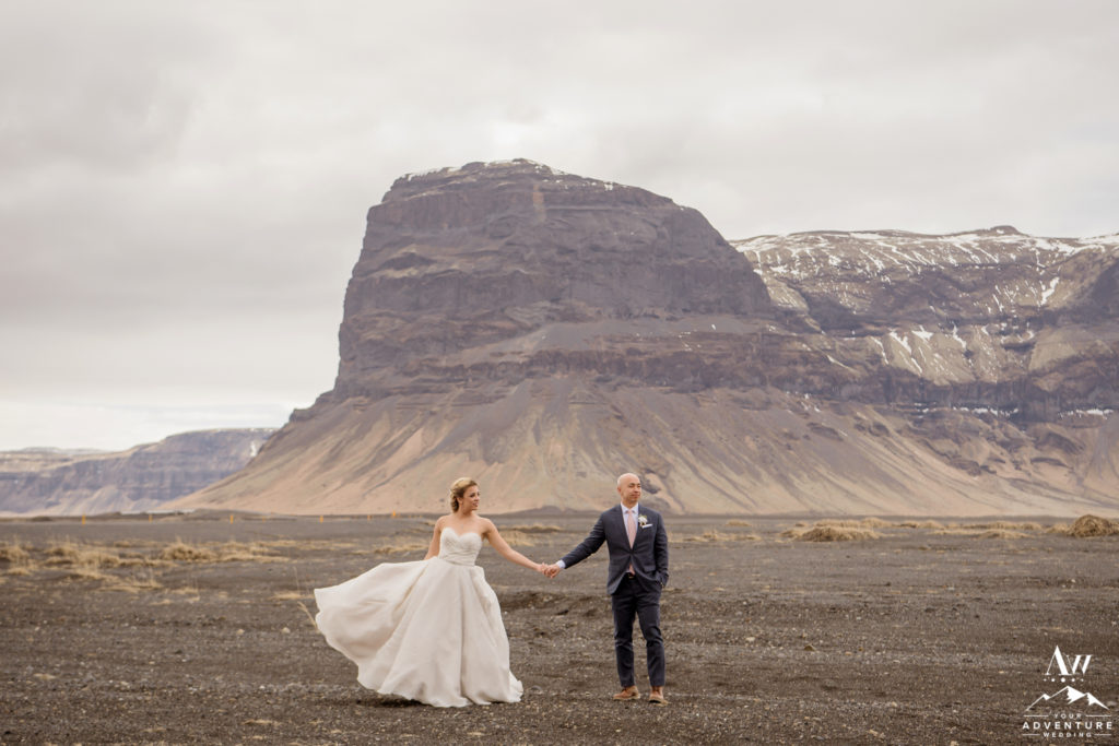 Iceland wedding photos in front of Lómagnúpur Mountain
