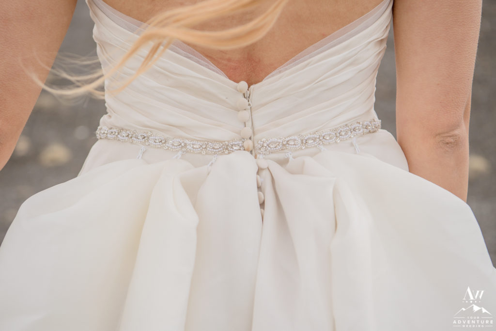 Back of brides Iceland wedding dress