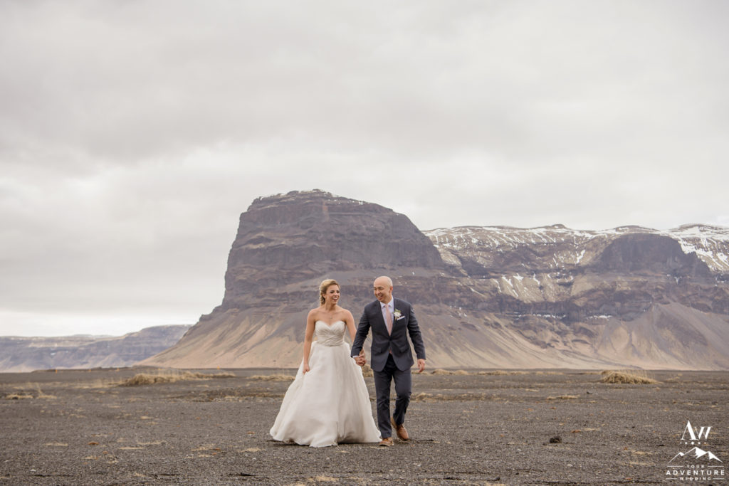 Intimate Iceland Destination Wedding photos in front of Lómagnúpur