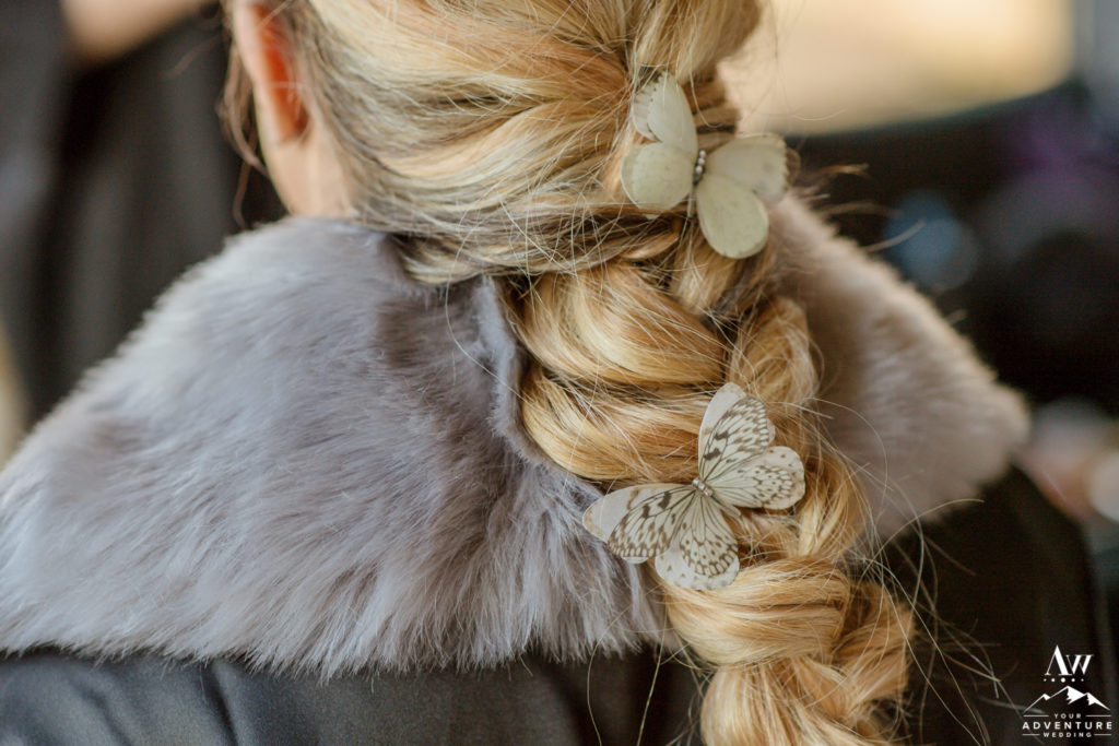 Iceland wedding hairstyle for adventure wedding