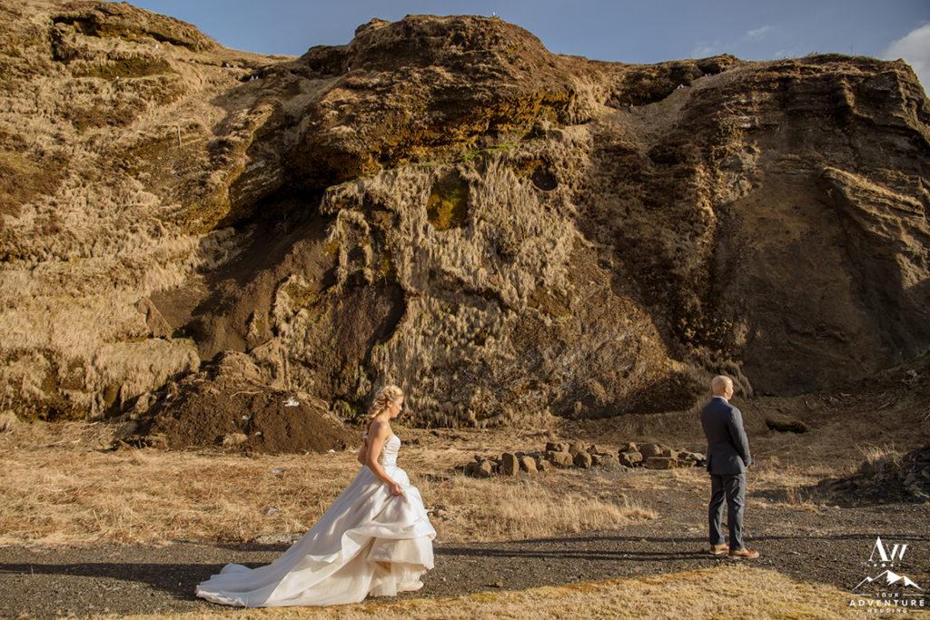Iceland wedding first look behind Icelandair Vik