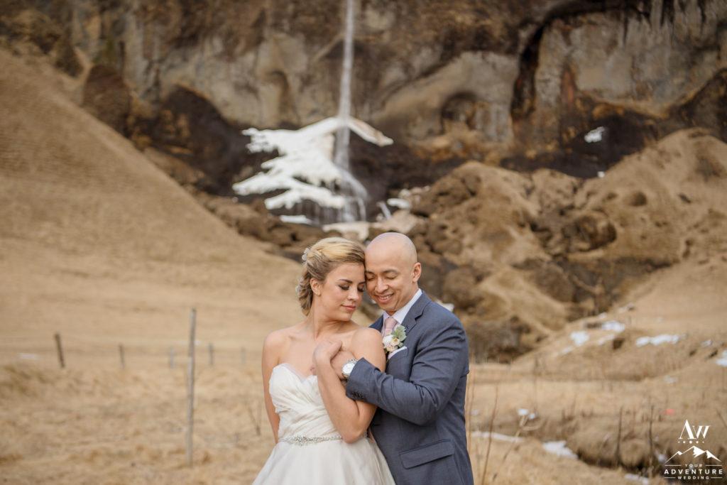 Iceland Wedding Photos of Bride and Groom Cuddling