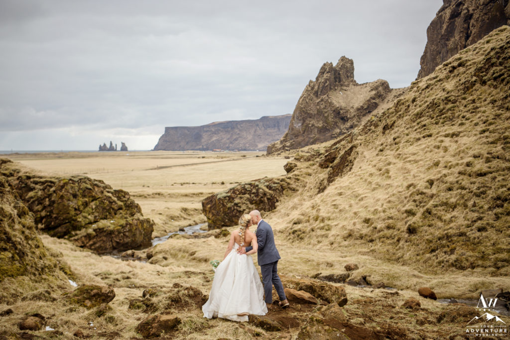 Iceland Wedding Couple Kissing in narrow canyon
