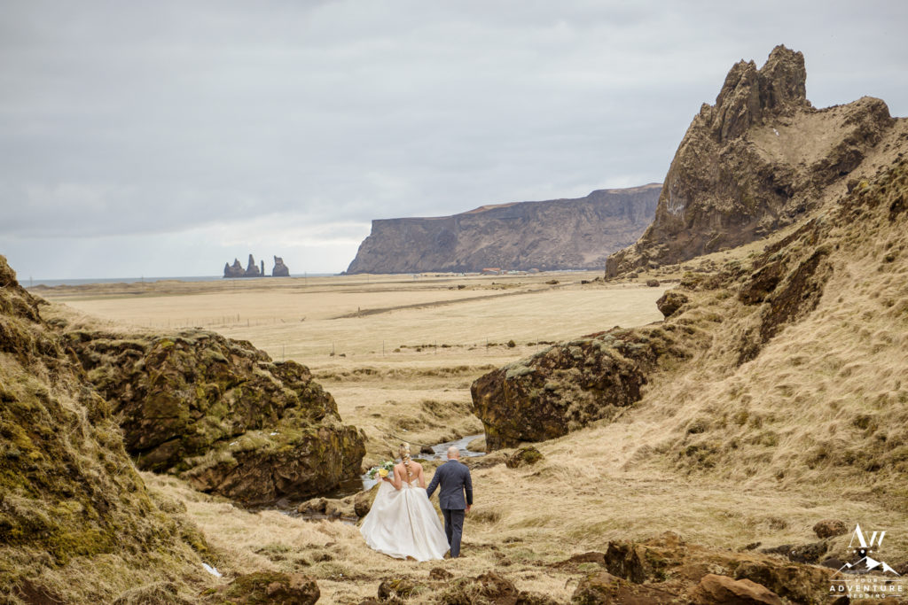 Iceland Wedding Couple Walking in a narrow canyon
