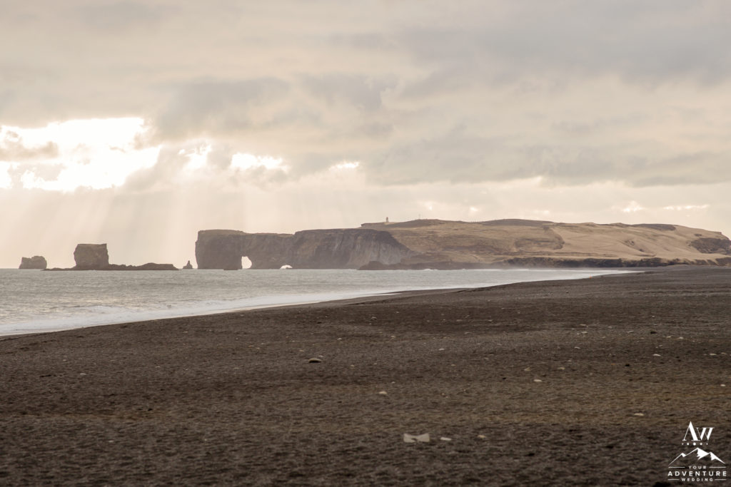 The view of Dyrholaey from Reynisfajara Beach