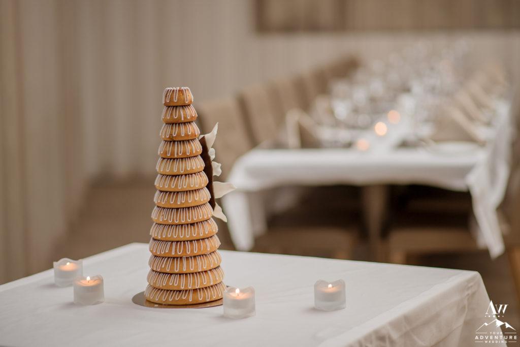 Iceland Wedding Cake during Iceland Wedding Reception