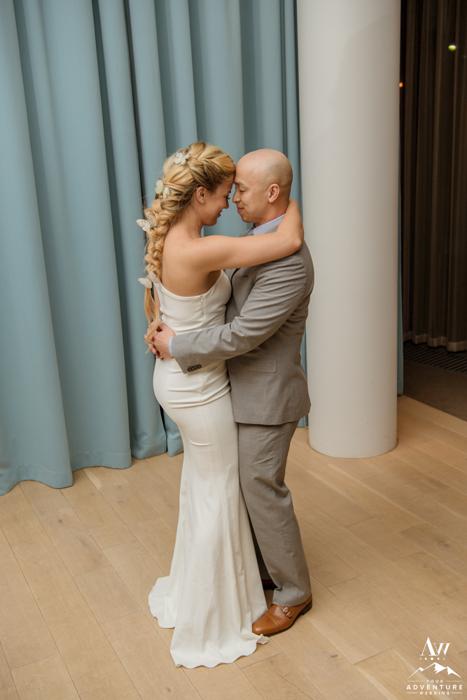 Iceland wedding couple shares their first dance in Vik Iceland