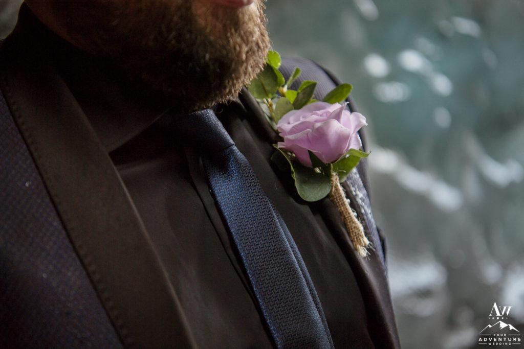 Iceland Wedding Groom Purple Buttonhole