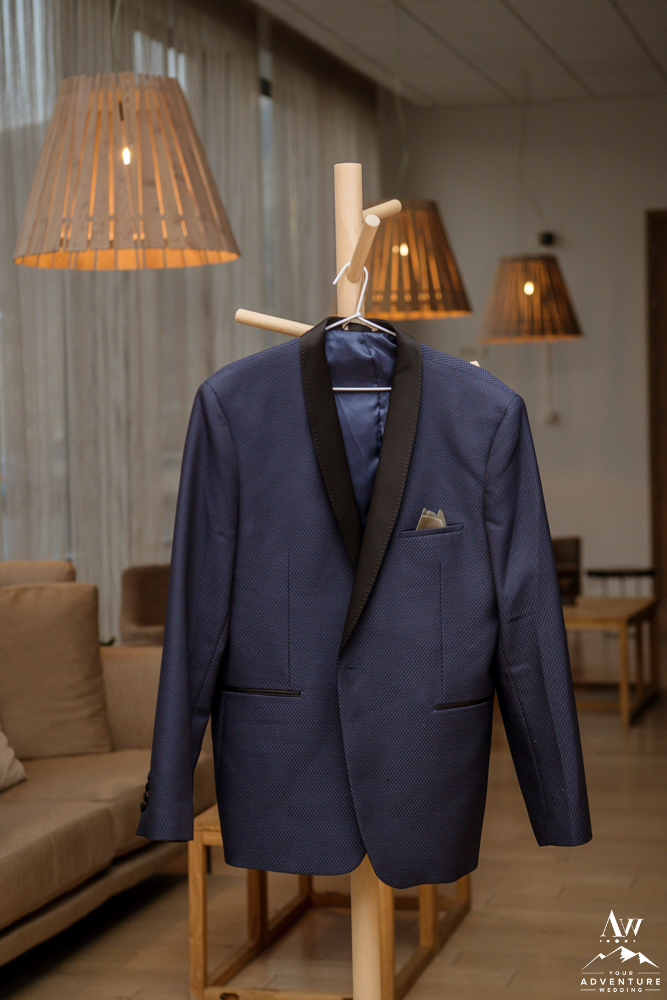 Navy tux for Groom for Iceland Wedding