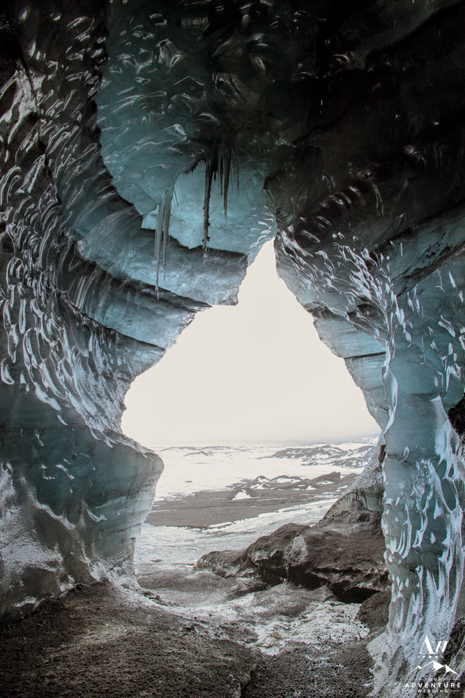 Iceland wedding location inside a glacier ice cave