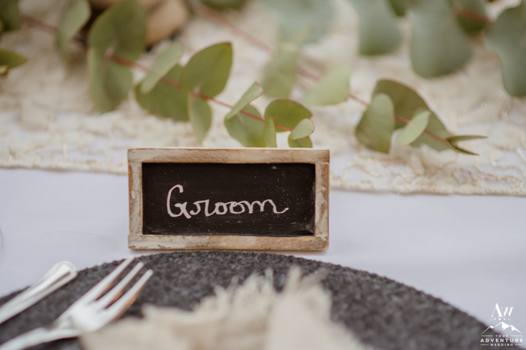 Groom Place Card for Iceland Elopement Reception